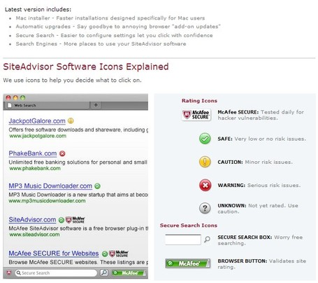 McAfee SiteAdvisor for Mac