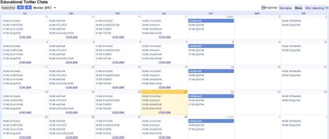 Twitter-Chat's Calendar