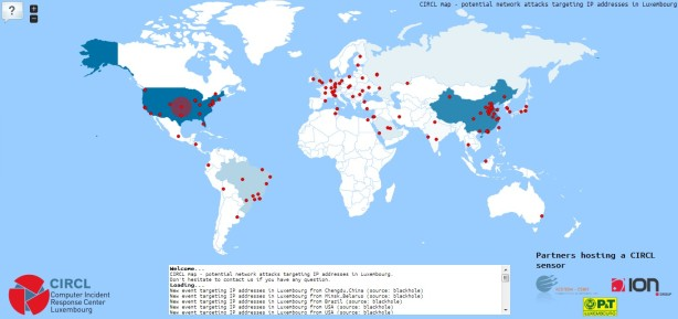 CIRCL map - potential network attacks targeting IP addresses in Luxembourg