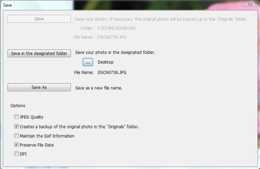 PhotoScape settings for privacy