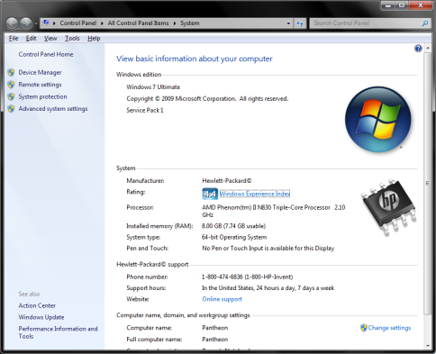 windows key+pause-system information