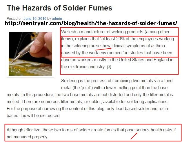 Solder Fumes-Health-Danger
