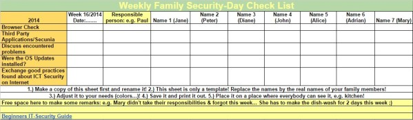 Family weekly responsibility spreadsheet