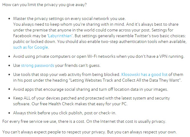 How can you limit the privacy you give away?