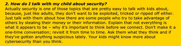 2. How do I talk with my child about security?