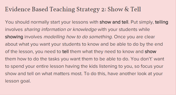 Show and Tell-Evidence Based Teaching
