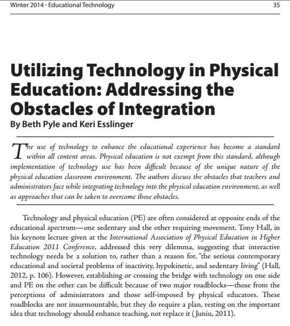Utilizing Technology in Physical Education-2014