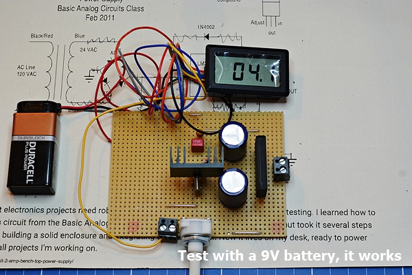 Test with 9 Volts battery