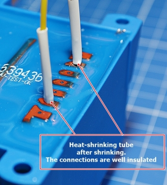 Heat-shrinking tubes on transformer after shrinking
