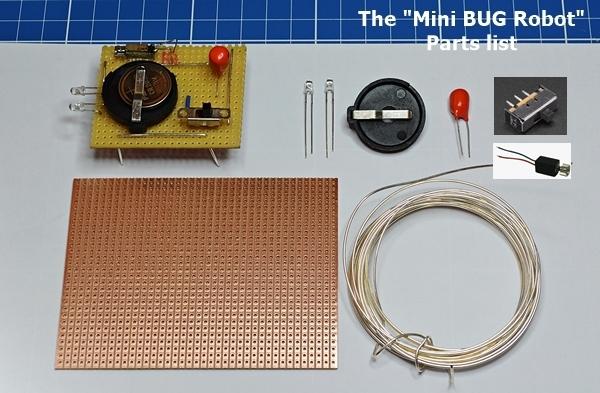 The Mini BUG Robot Parts list
