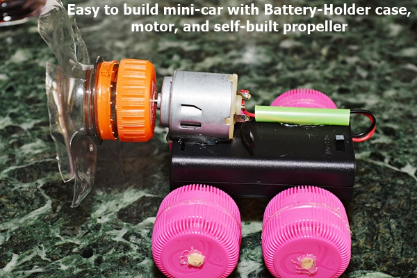 Easy to build mini car with Battery-Holder case and motor, as self-made propeller