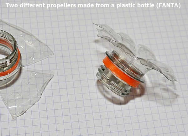 Two different propellers made from a plastic bottle (FANTA)