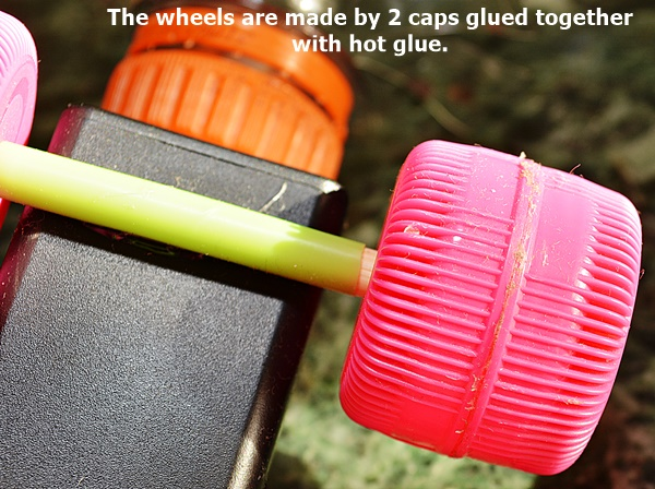 The wheels are made by 2 caps glued together with hot glue.
