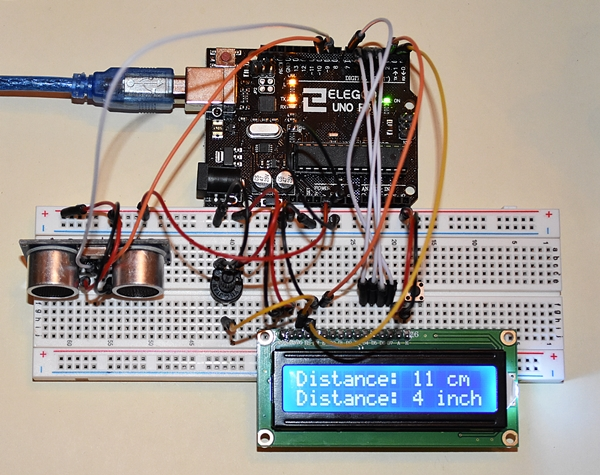 ULTRASONIC SENSOR-HC-SR04-and LCD-DISPLAY