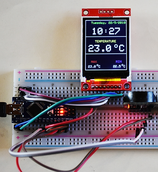 DS3231 and 1.8 TFT on Arduino NANO
