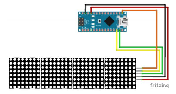 MAX7219 LED MATRIX 4 in One-Wiring Scheme