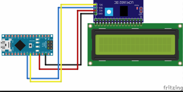 I2C LCD1602 PINOUT-Arduino NANO