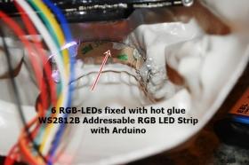 WS2812B soldering and heatshrinking tube fixed in the Skull