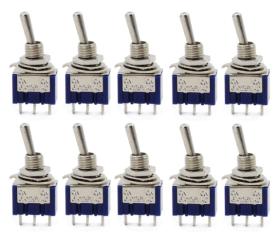 Aussel 10 Stück AC 125 V 6A ON-ON 3 Pins 2 Position Mini Kippschalter für Arduino